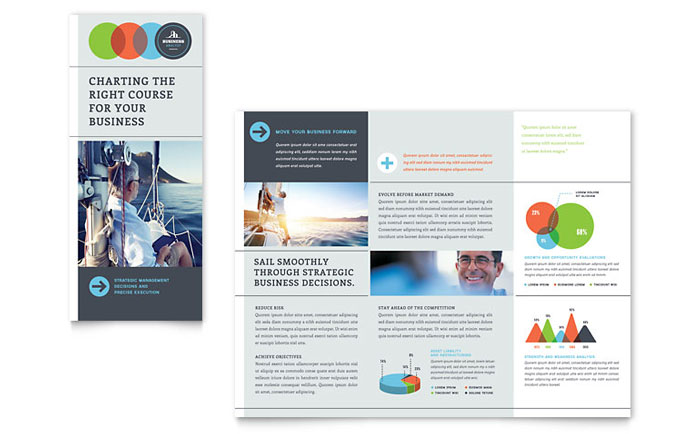 business analyst tri fold brochure template design