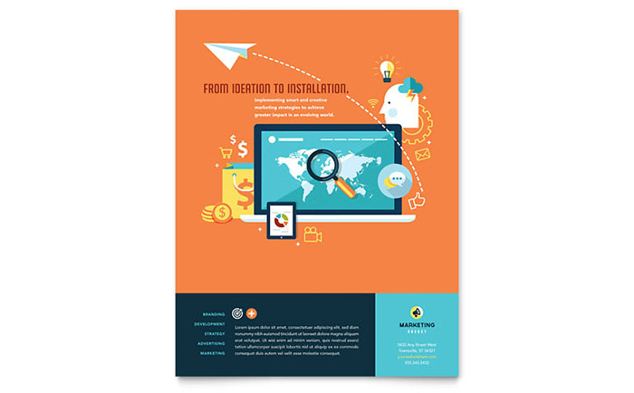 Advertising Company Flyer Template Design Download - InDesign, Illustrator, Word, Publisher, Pages