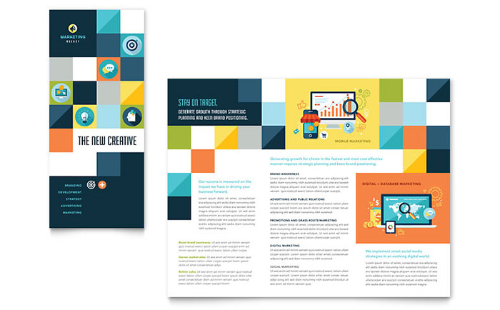 Advertising company tri fold brochure template design for Advertising sales companies
