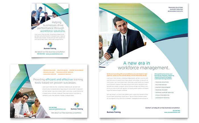 Business training flyer ad template design for Brochure design for training institute