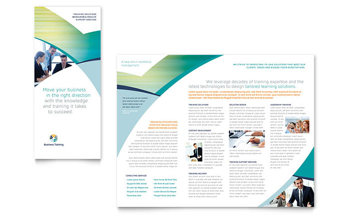 Business training tri fold brochure template design for Training brochure template