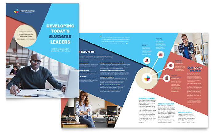 Corporate strategy brochure template design for Brochure template indesign free download