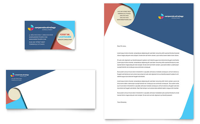 Corporate strategy business card letterhead template design flashek