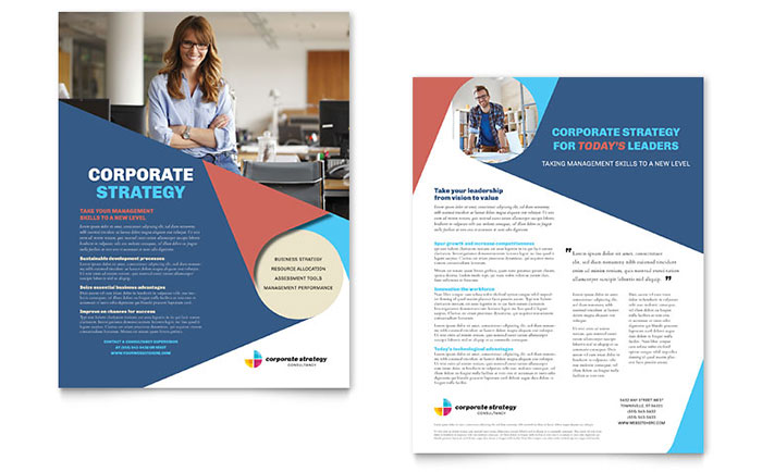 Corporate strategy datasheet template design for Sales slick template