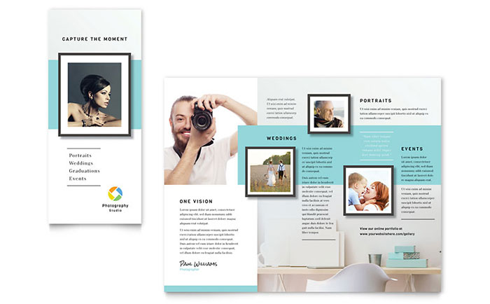 Photographer brochure template design for Free product brochure template