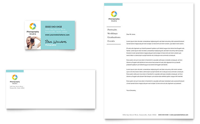 photographer business card letterhead template