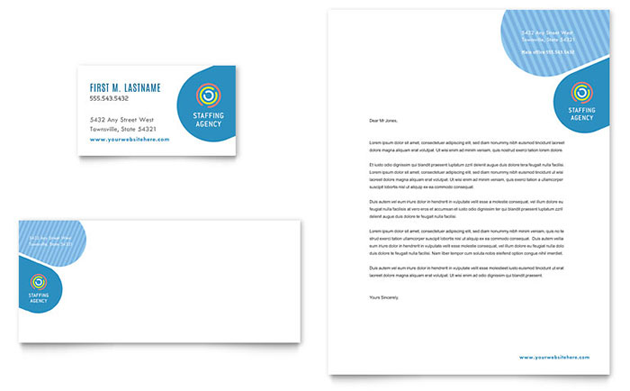 Employment agency business card letterhead template design reheart