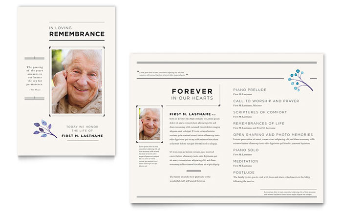 funeral services newsletter template design