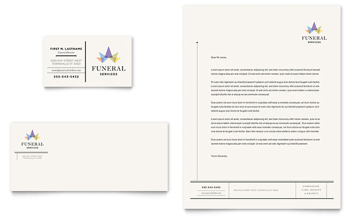 funeral services business card letterhead template design