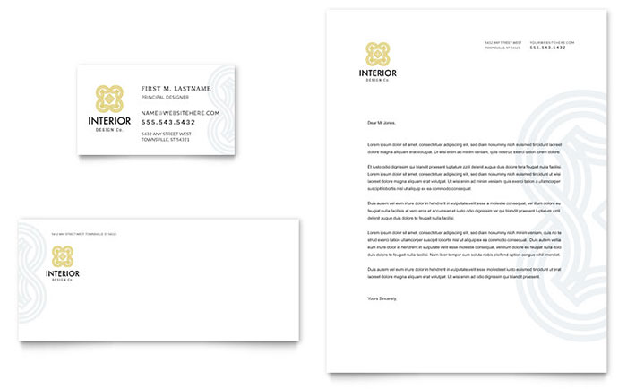 Interior design business card letterhead template design - Business name for interior design company ...