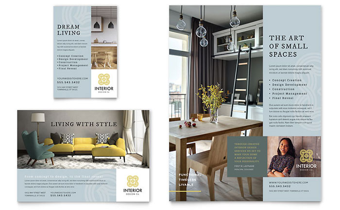 interior design flyer ad template design