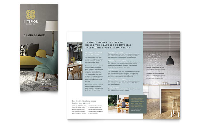 interior design tri fold brochure template design