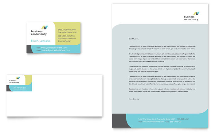 Small Business Consultant Business Card & Letterhead Template Design Download - InDesign, Illustrator, Word, Publisher, Pages