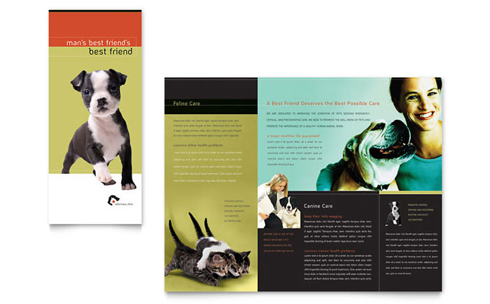 Veterinary Clinic Brochure Template Design - InDesign, Illustrator, Word, Publisher, Pages