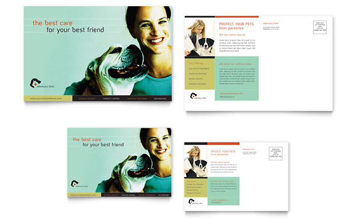 Veterinary Clinic Postcard Template Design Download - InDesign, Illustrator, Word, Publisher, Pages
