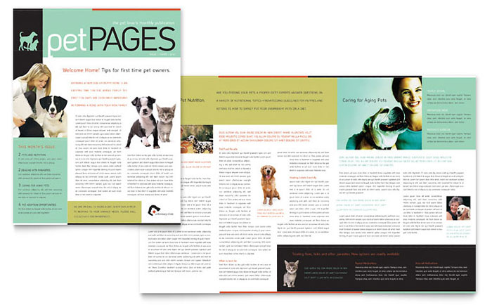 Veterinary Clinic Newsletter Template Design Download - InDesign, Illustrator, Word, Publisher, Pages