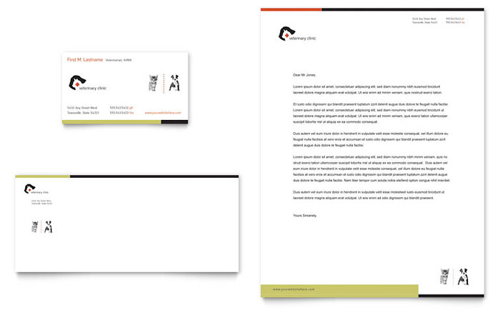 Veterinary Clinic Business Card & Letterhead Template Design