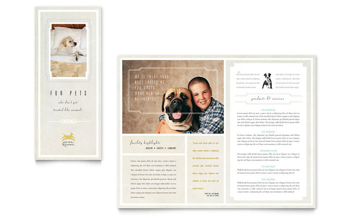 Pet Hotel & Spa Brochure Template Design Download - InDesign, Illustrator, Word, Publisher, Pages