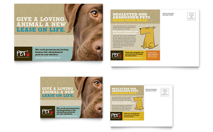 Animal Shelter Pet Adoption Flyer Ad Template Design