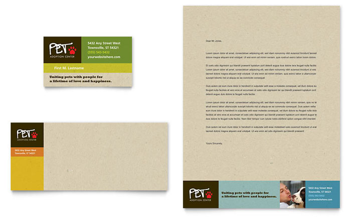 animal shelter  u0026 pet adoption business card  u0026 letterhead