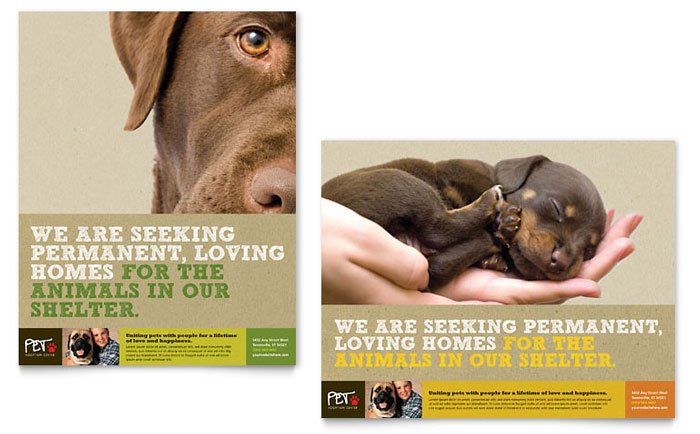 Animal shelter pet adoption poster template design for Dog adoption flyer template