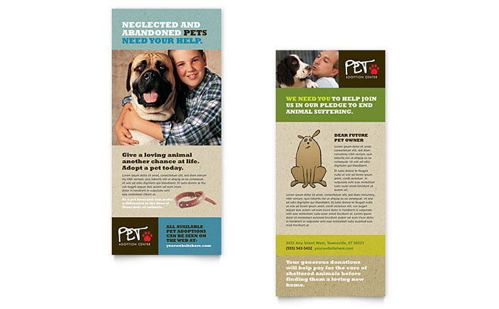 animal shelter pet adoption rack card template design. Black Bedroom Furniture Sets. Home Design Ideas