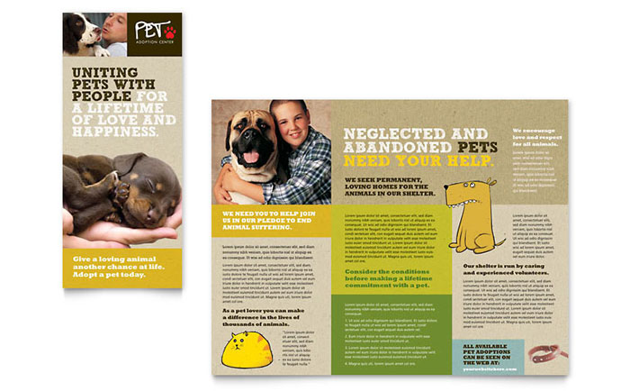 volunteer brochure template - animal shelter pet adoption tri fold brochure template