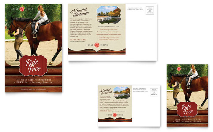Horse riding stables camp postcard template design for Horseback riding lesson gift certificate template