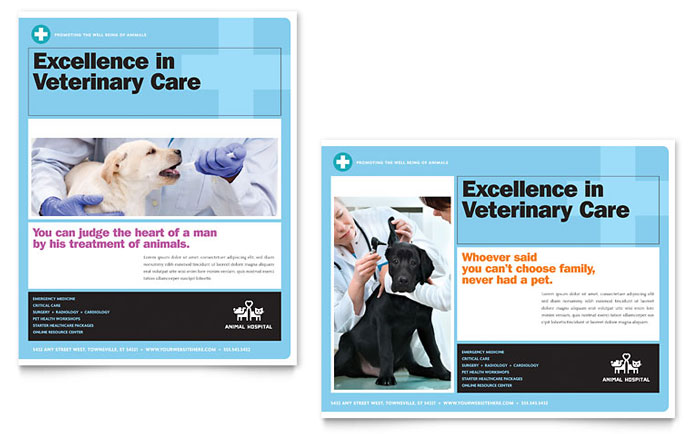 Animal Hospital Poster Template Design Download - InDesign, Illustrator, Word, Publisher, Pages