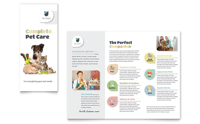 Pet Store Brochure Template Design Download - InDesign, Illustrator, Word, Publisher, Pages