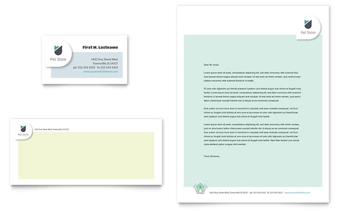 Pet Store Business Card & Letterhead Template Design - InDesign, Illustrator, Word, Publisher, Pages