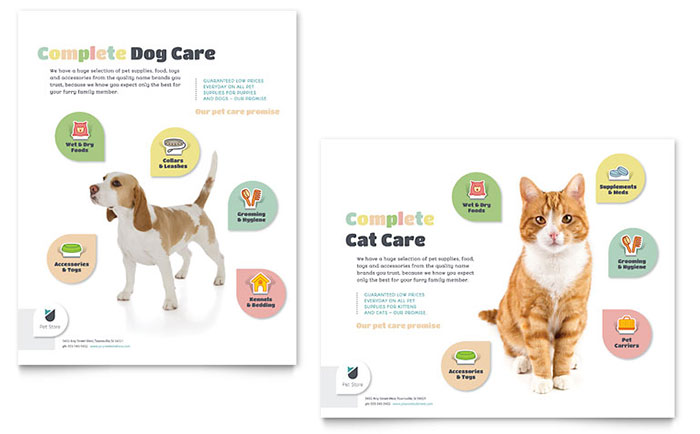 Pet Store Poster Template Design Download - InDesign, Illustrator, Word, Publisher, Pages