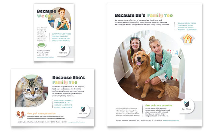 Pet Store Flyer & Ad Template Design Download - InDesign, Illustrator, Word, Publisher, Pages