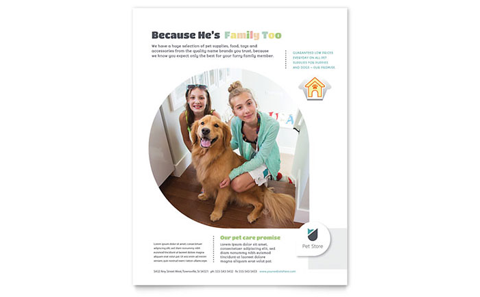 Pet Store Flyer Template Design Download - InDesign, Illustrator, Word, Publisher, Pages