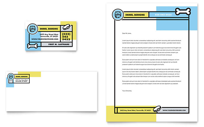 Pet Boarding Business Card & Letterhead Template Design Download - InDesign, Illustrator, Word, Publisher, Pages
