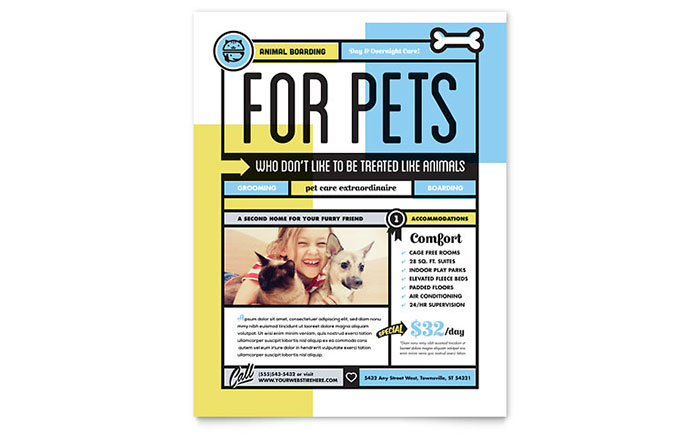 pet boarding flyer template design