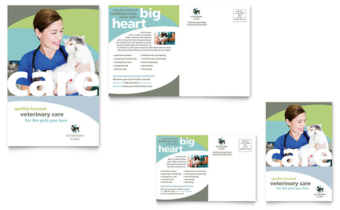 Vet Clinic Postcard Template Design - InDesign, Illustrator, Word, Publisher, Pages