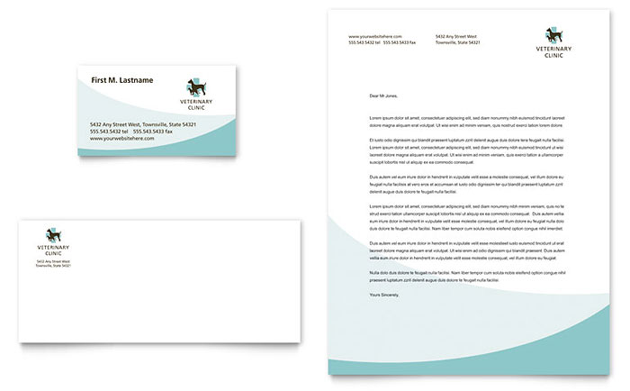 vet clinic business card letterhead