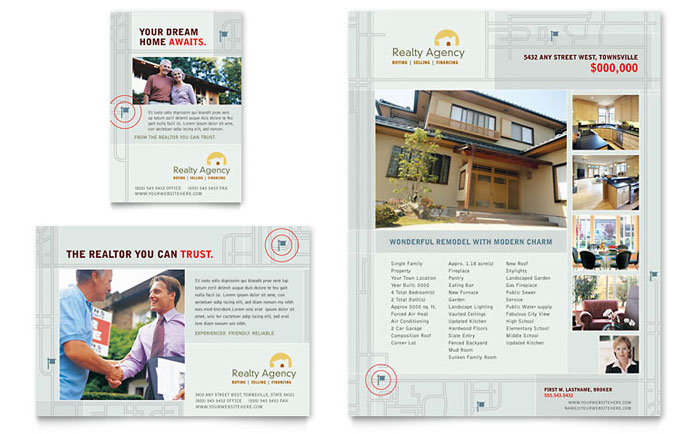 Real estate agent realtor flyer ad template design for Property brochure template