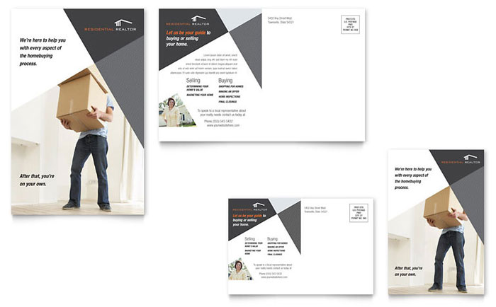 contemporary modern real estate postcard template design. Black Bedroom Furniture Sets. Home Design Ideas