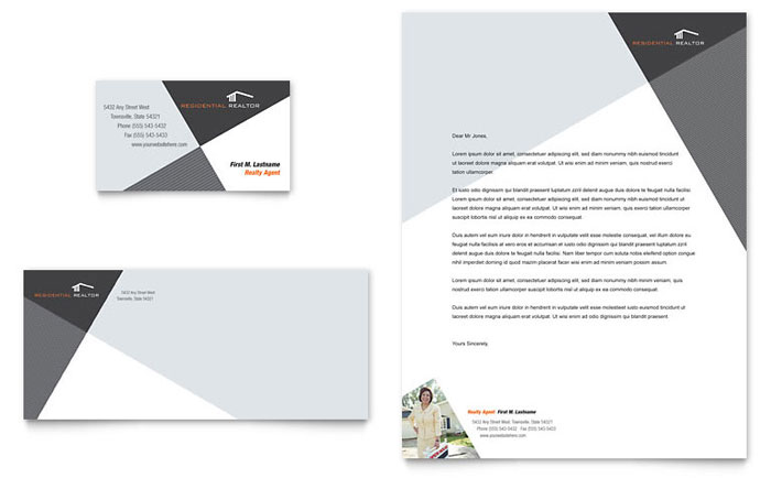 contemporary modern real estate business card letterhead template design