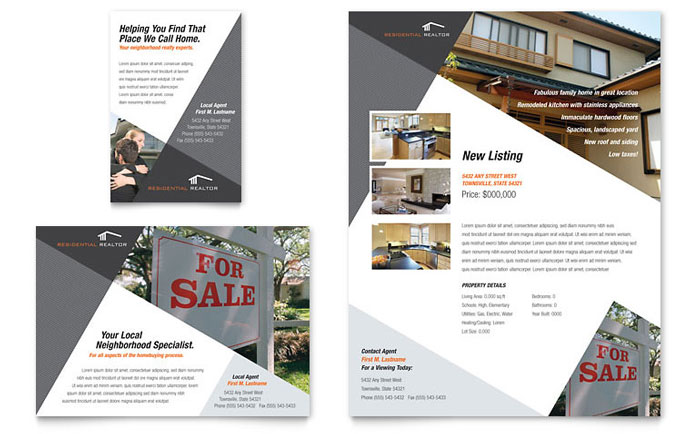 Contemporary modern real estate flyer ad template design for Half page flyer template free