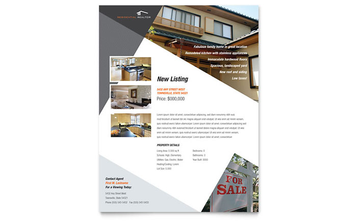 contemporary modern real estate flyer template design