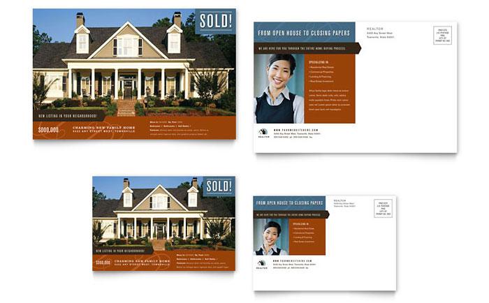 Residential realtor postcard template design for Estate designs