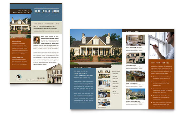 real estate agent brochure templates - residential realtor newsletter template design