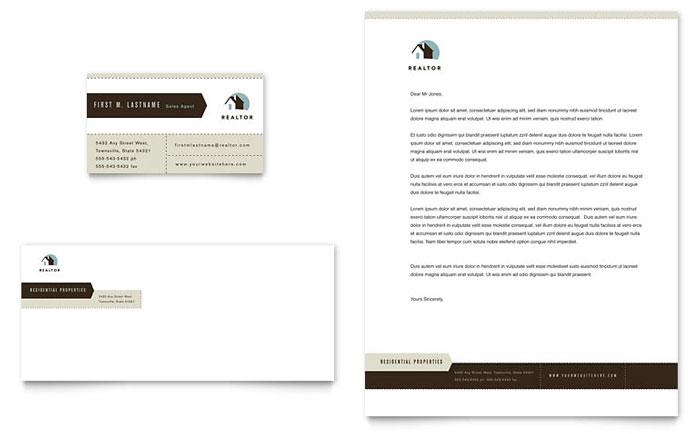 Residential Realtor Business Card & Letterhead Template Design