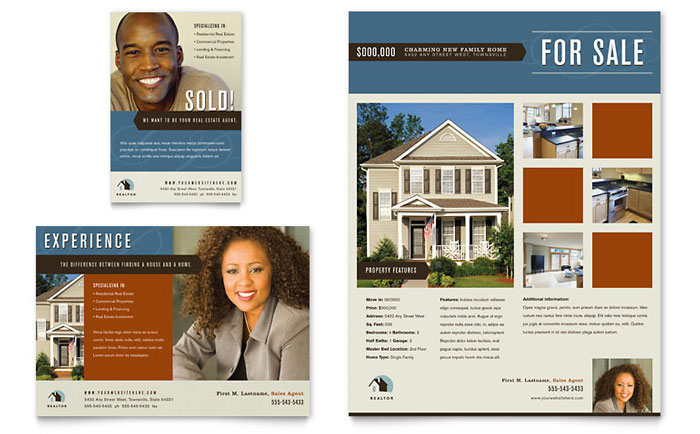 Residential realtor flyer ad template design for Real estate brochure examples