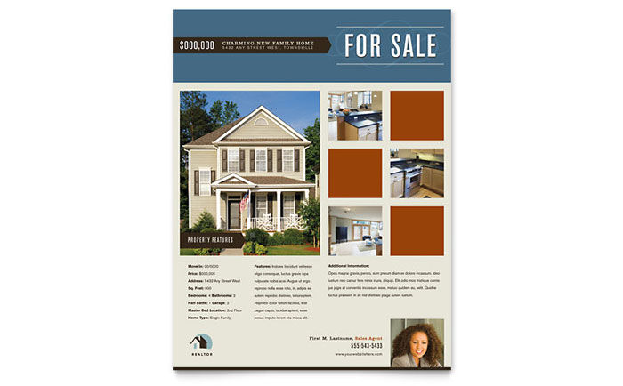 Residential Realtor Flyer Ad Template Design - Commercial real estate brochure template