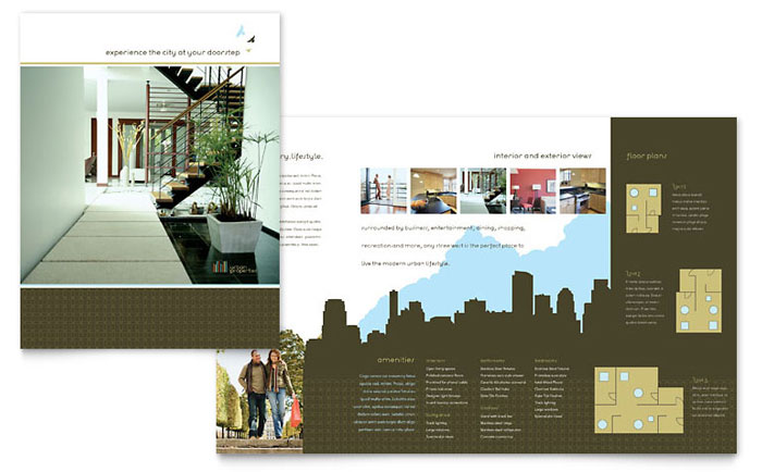 Urban real estate brochure template design for Apartment design examples