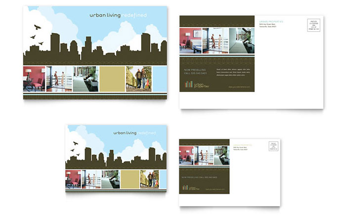 Urban real estate postcard template design for Jumbo postcard template